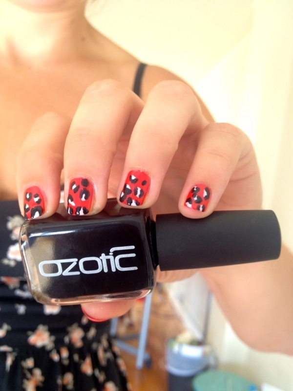 How to leopard print nails bellabox australia first off paint your nails the desired base shade i chose a bold and bright red ozotic nail polish in 125 crimson solutioingenieria Images